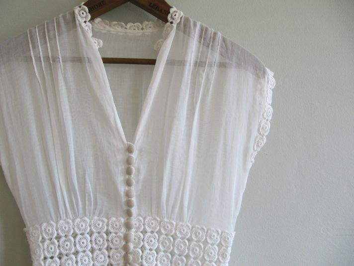 vintage edwardian wedding dress covered buttons