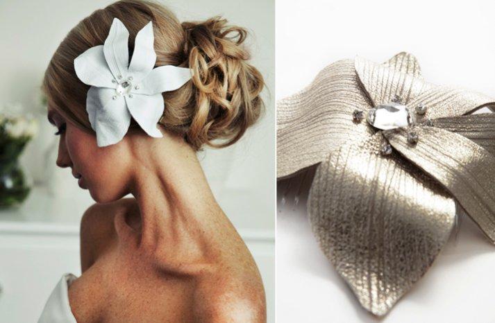 modern wedding hair accessory leather hair flower