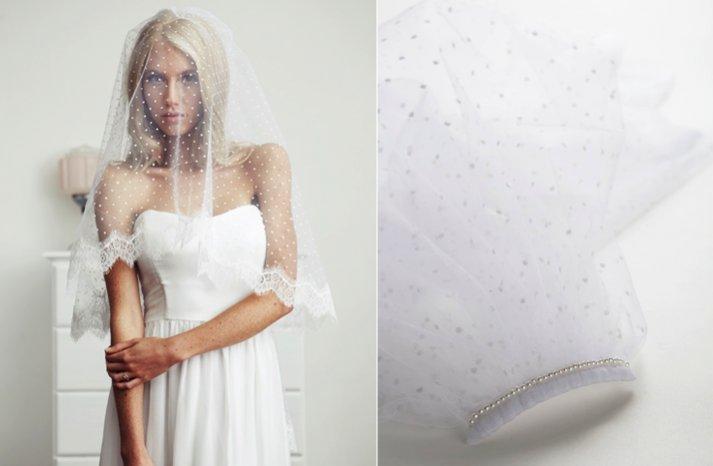 swiss dot bridal veil lace trimmed