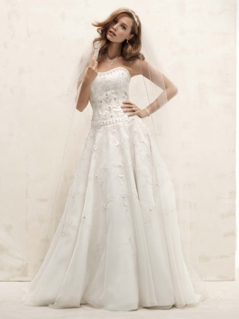 David 39 s bridal wedding dress style ct258 onewed for Wedding dress designer oleg cassini