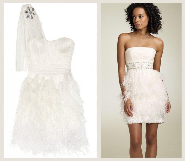 splurge vs save wedding reception dress feathers
