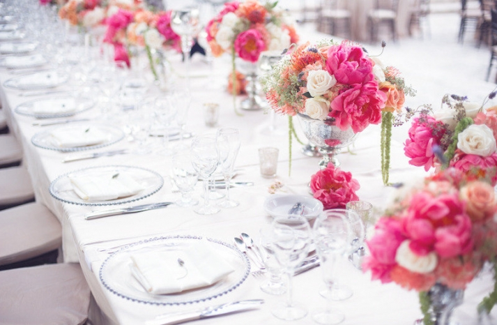 romantic pink wedding flower centerpieces garden romance