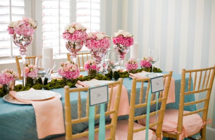 romantic pink wedding flower centerpiece silver vase