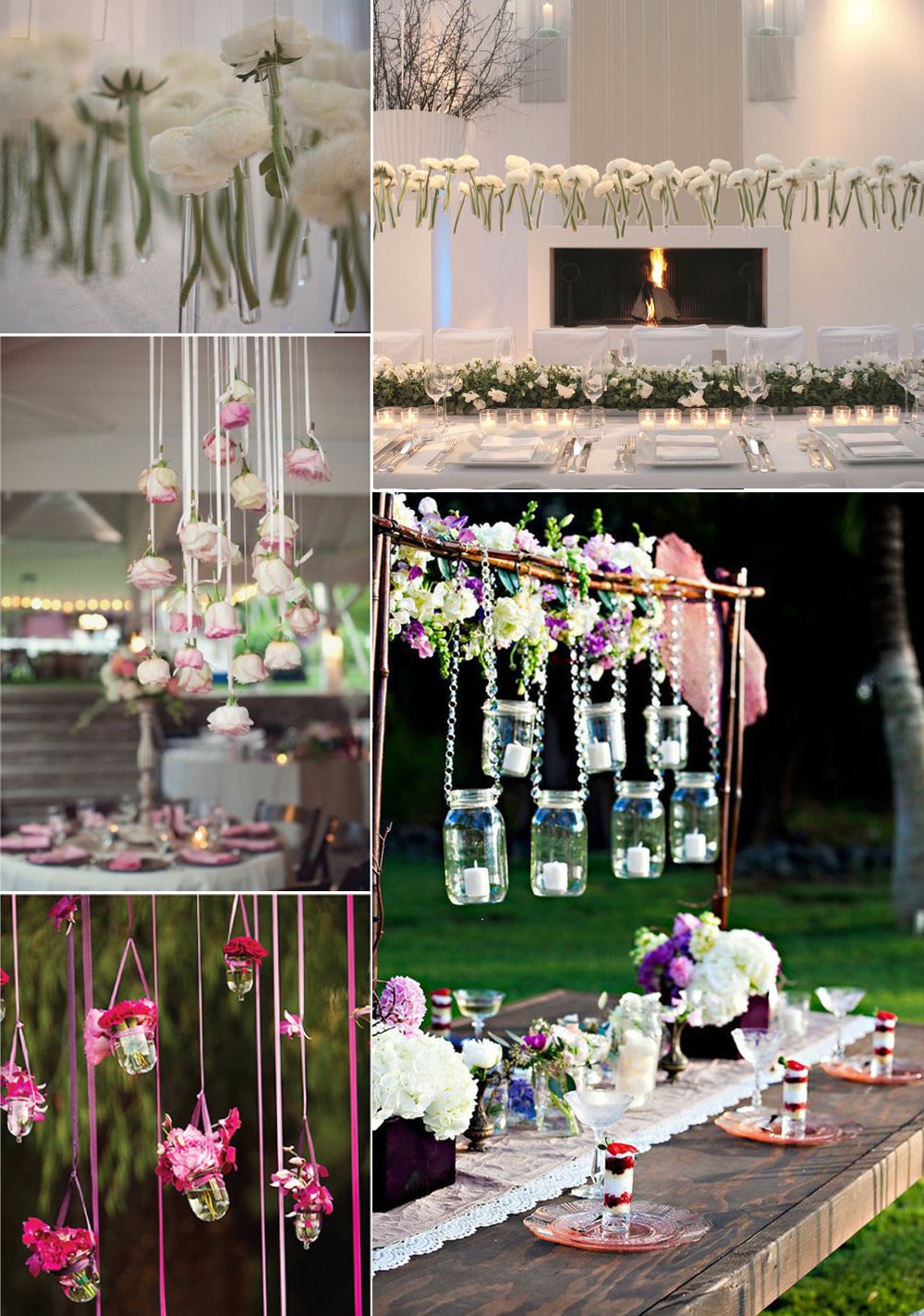 unique wedding flower ideas hanging centerpieces. Credit: none