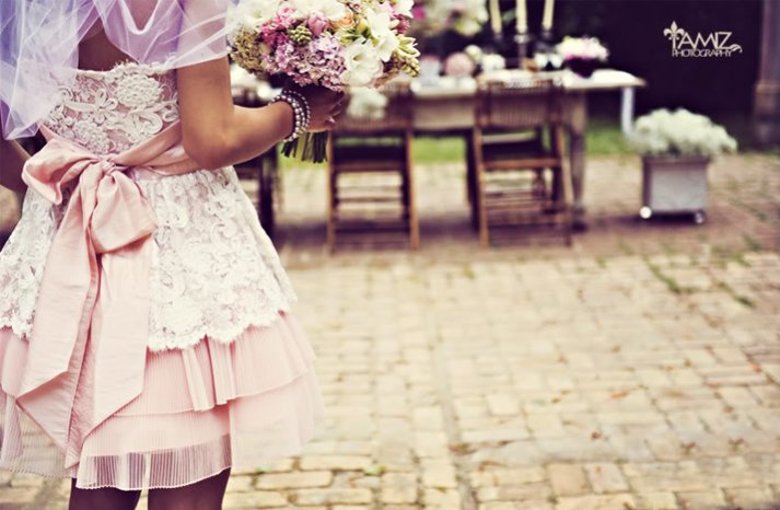 pink wedding reception dress lace