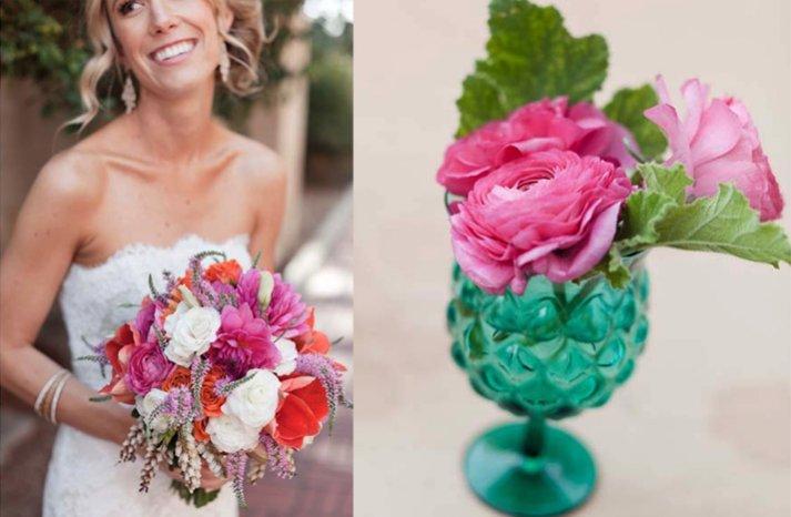 pretty pink wedding reception centerpieces bridal bouquet