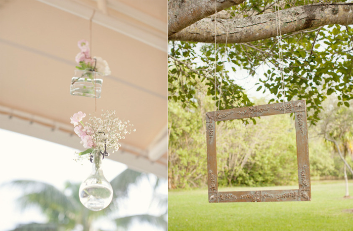 romantic spring summer wedding outdoor reception hanging centerpieces