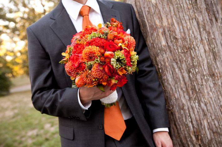 orange wedding color palette reception decor