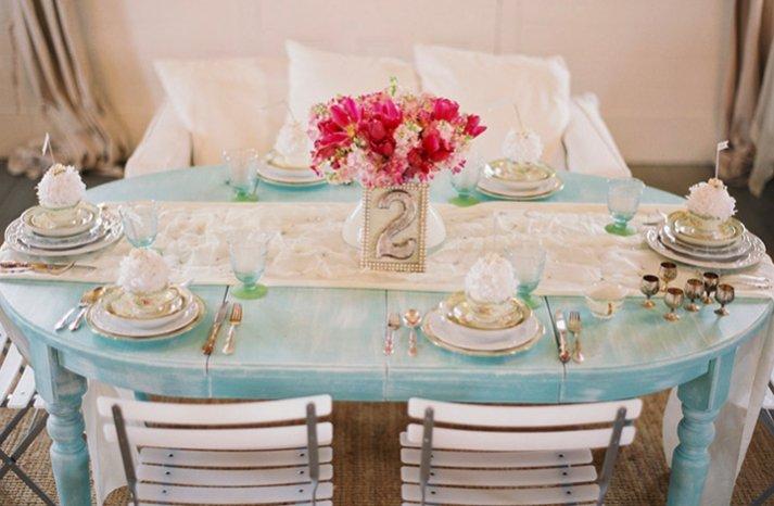 blue silver wedding reception tabletop pink wedding flowers