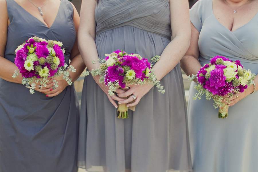 magenta wedding flowers bridesmaids bouquets touches of green