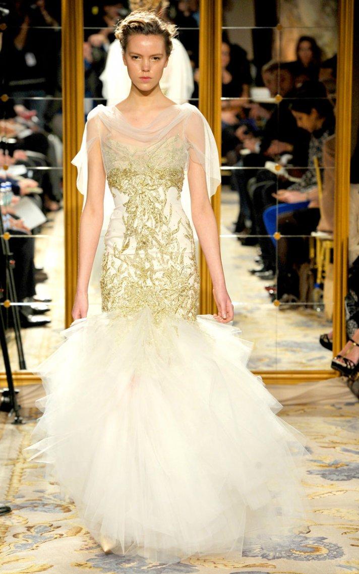 3b05711a89 Fall 2012 wedding dress inspiration Marchesa RTW asymmetrical hem