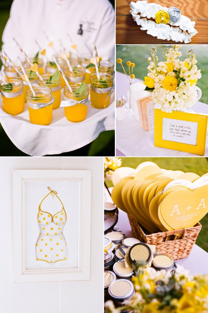 outdoor weddings lemon yellow wedding colors signature drinks wedding flowers