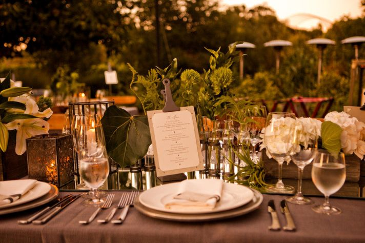 elegant outdoor wedding reception greenery as table decor