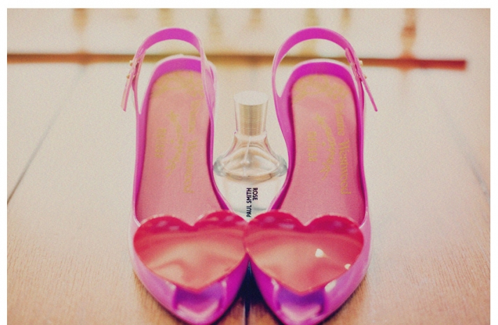 hot pink wedding shoes heart adorned