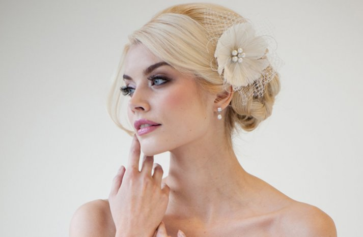 ivory feather flower fascinator wedding hair accessory