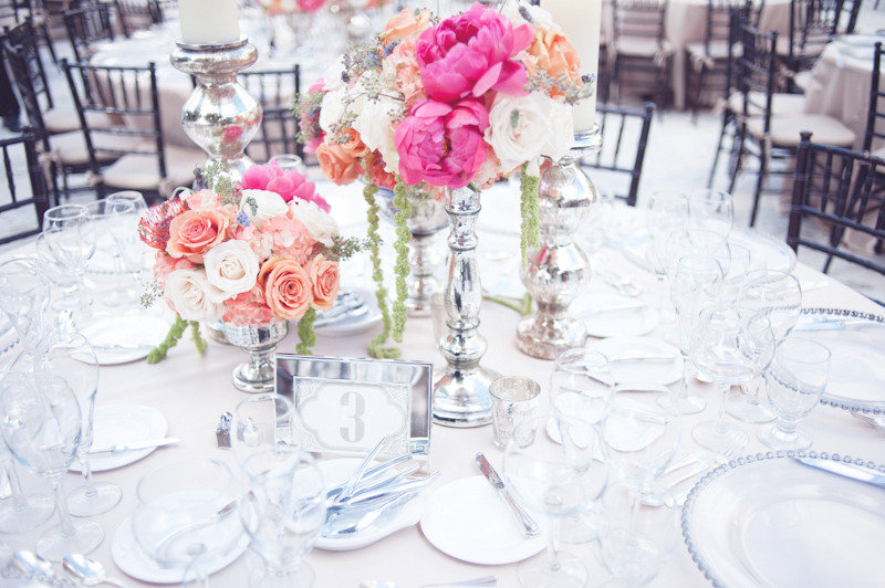 beach wedding bright wedding color palette pink peony flower centerpieces