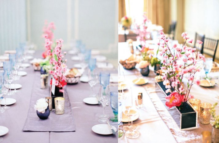cherry blossom tablescape wedding reception
