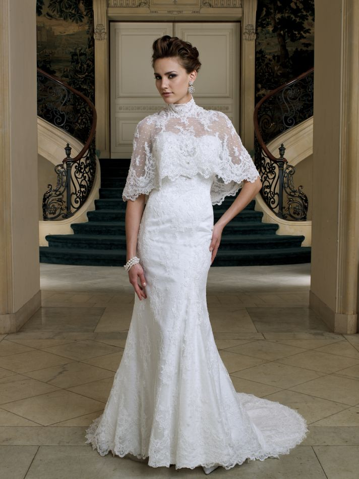 2012 bridal style trend cape toppers onewed for Short wedding dresses 2012