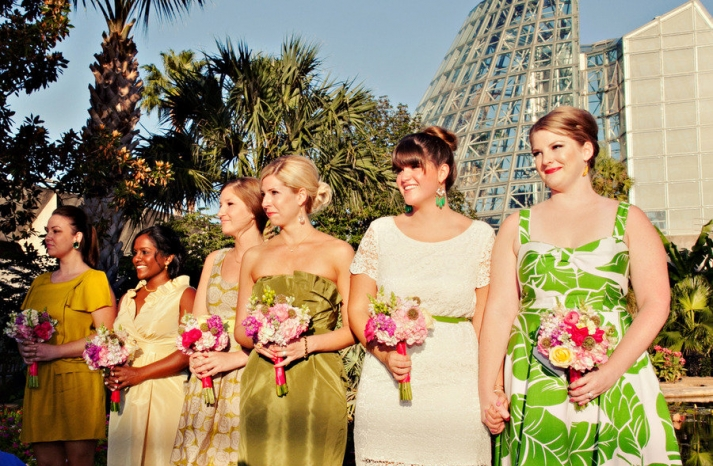 chic mix and match bridesmaids outdoor ceremony