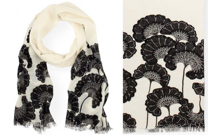 black ivory kate spade scarf