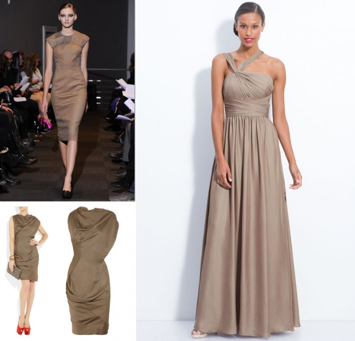 brown taupe bridesmaids dresses fall 2012 wedding style inspiration
