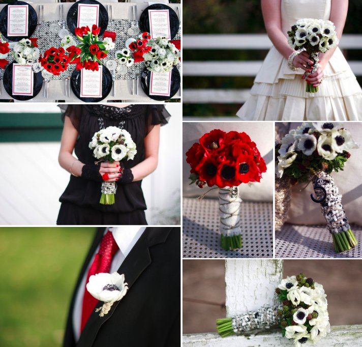 red white black wedding flowers anemone