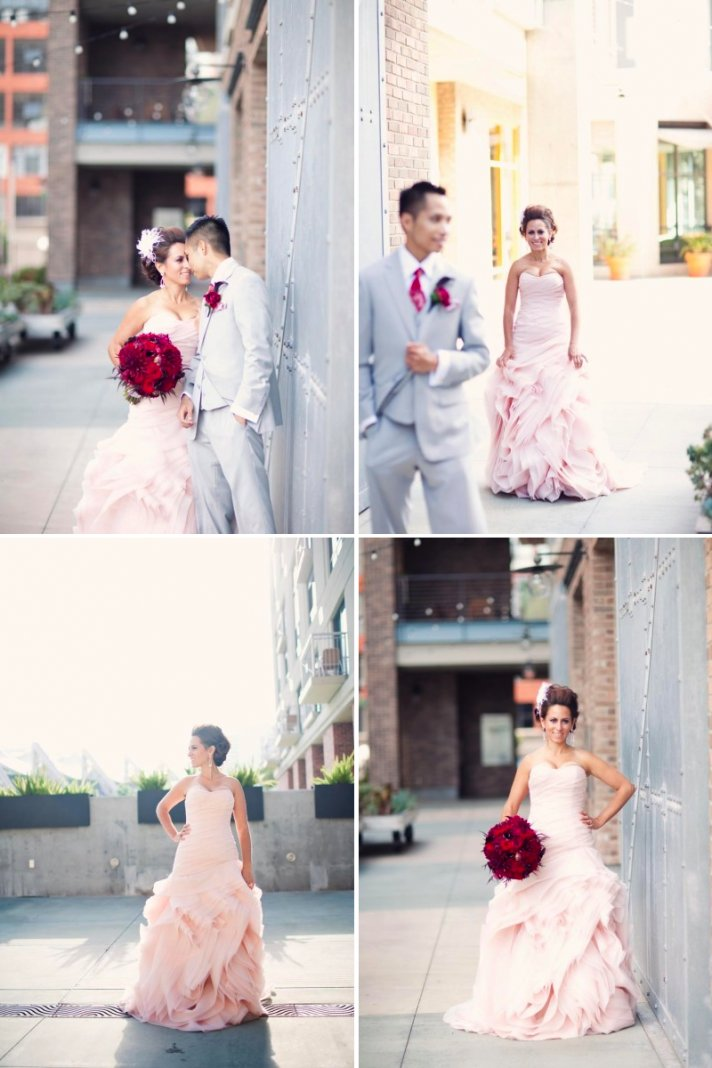 strapless pink wedding dress by vera wang groom in grey suit