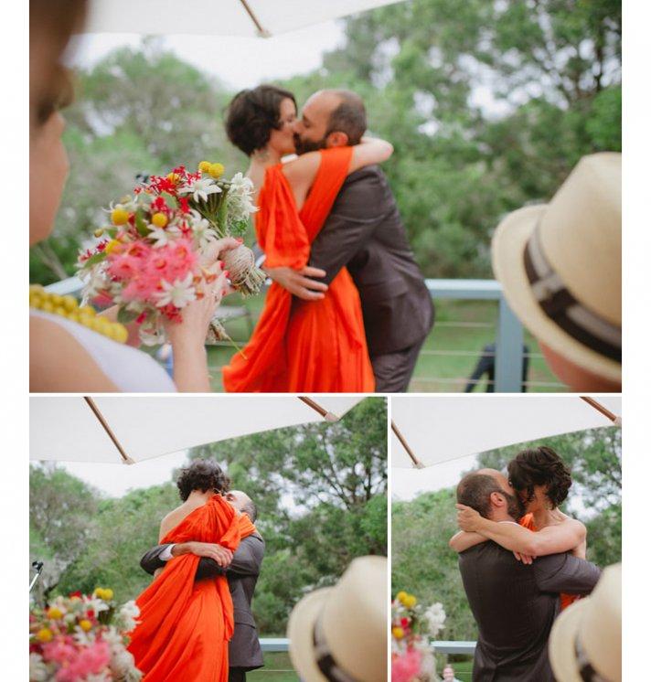 orange one shoulder wedding dress draped