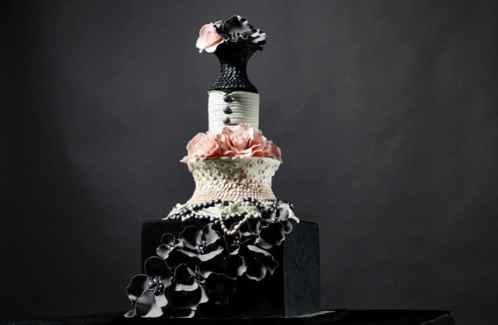 chanel inspired wedding cake
