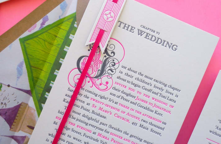 neon pink grey wedding invites happily ever after