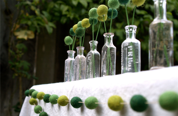 diy wedding reception ideas glass bottles with billy balls green yellow