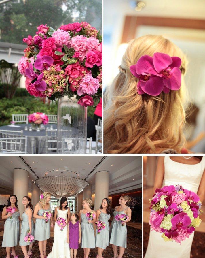 hot pink orchids wedding flower centerpieces