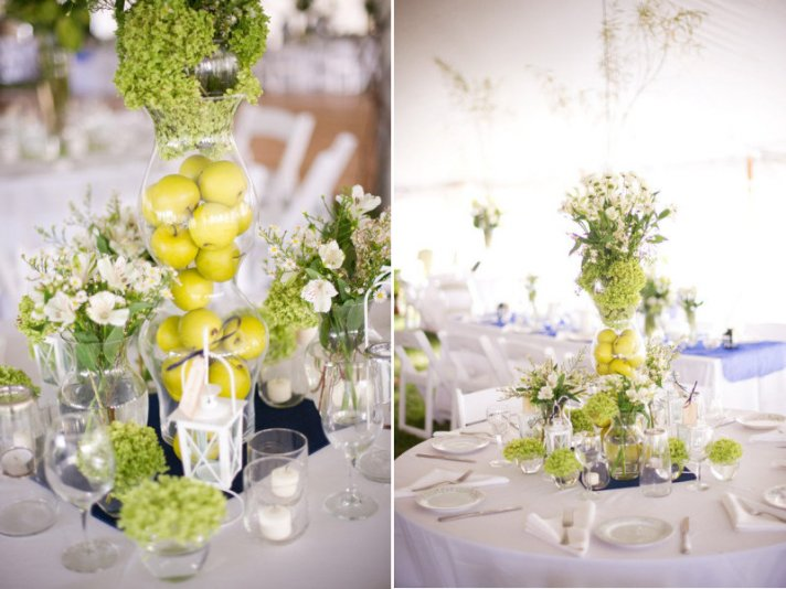 unique wedding centerpieces using fruit green apples