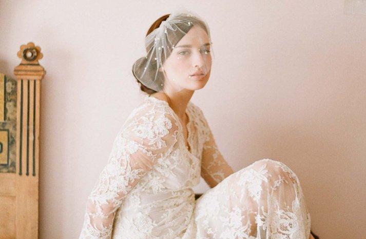 elegant bridal veil blusher pearl details
