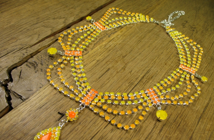 neon wedding jewelry orange yellow bridal necklace