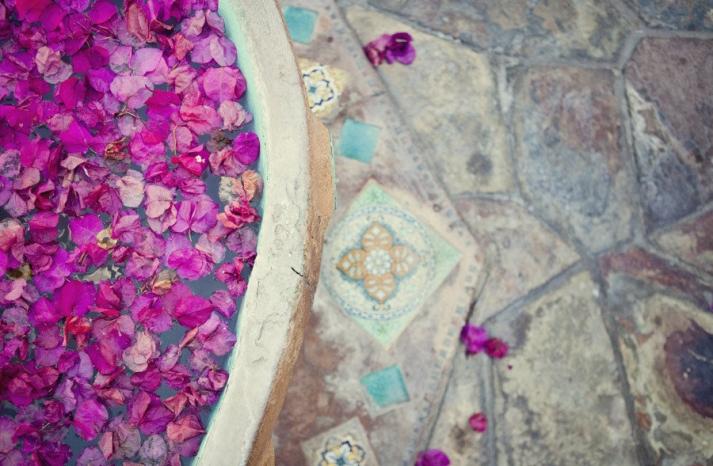 enchanted garden wedding outdoor venue purple flower petals