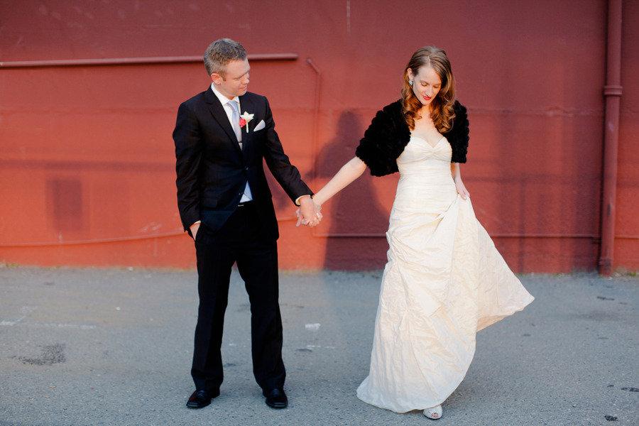winter wedding outdoor couples photo black bridal bolero