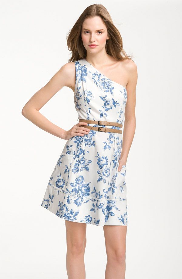 white blue bridesmaid dress romantic print pattern one shoulder with belt