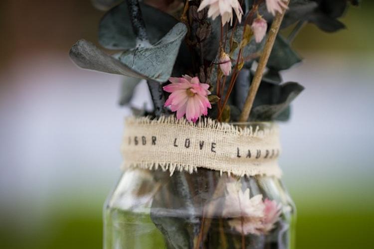 romantic outdoor wedding spring wedding inspiration mason jar centerpieces