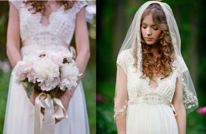 romantic garden wedding bride wears lace veil v neck wedding dress