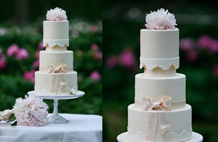 romantic elegant wedding cake bow lace applique