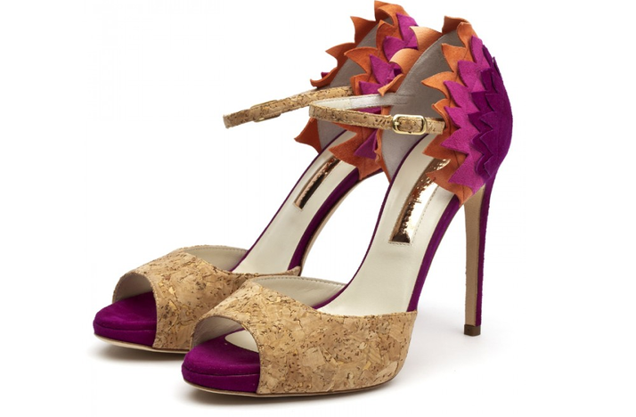 funky wedding shoes purple orange cork Credit Rupert Sanderson wedding