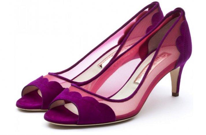 splurge worthy wedding shoes purple berry illusion details