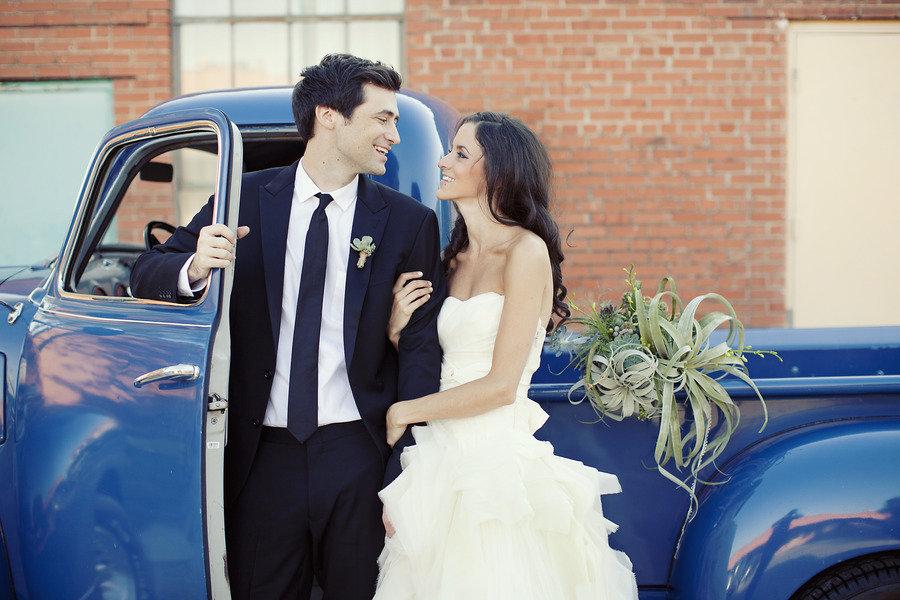 bride groom smile outside vintage wedding car something blue