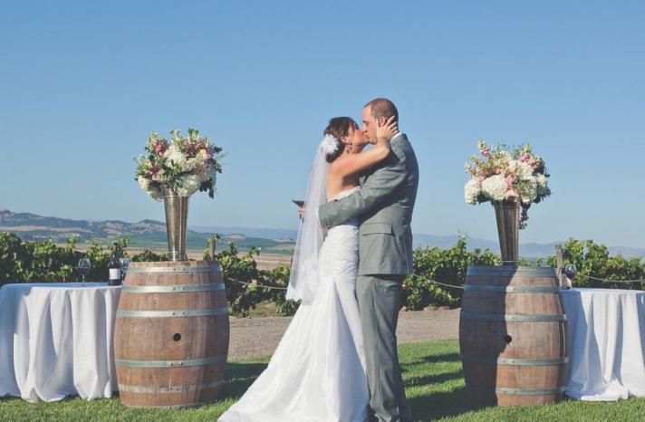romantic winery wedding outdoor wedding venues bride groom kiss