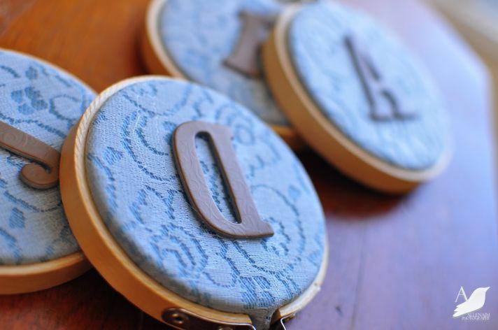 monogrammed lace DIY wedding project brides something blue