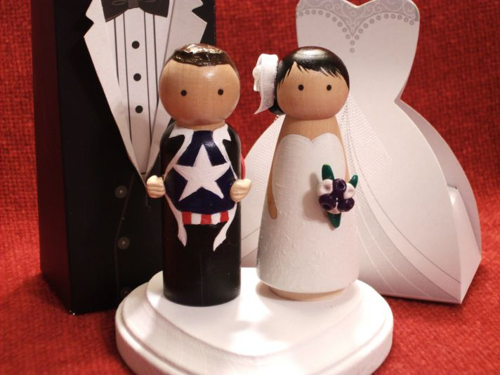 adorable wedding cake toppers handmade wedding Etsy superhero groom