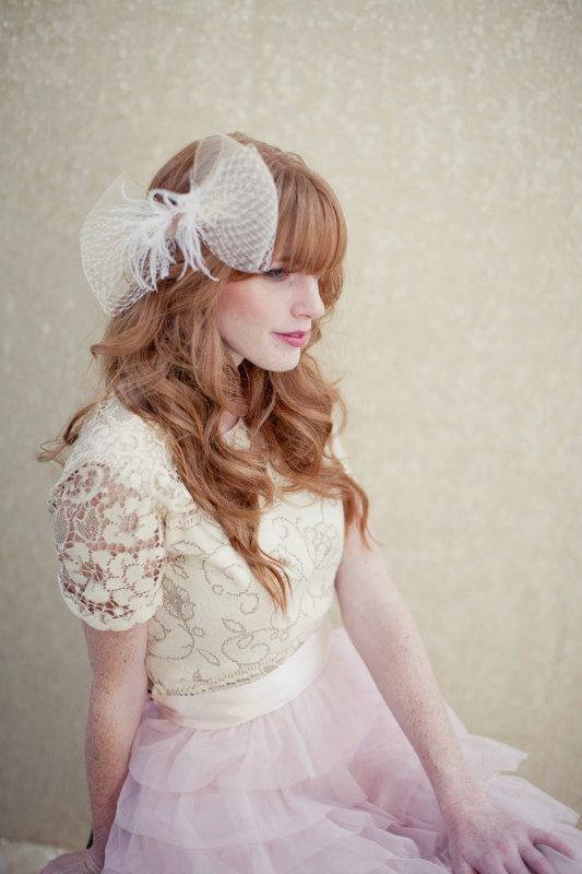 bridal hair accessory tulle feather wedding bow