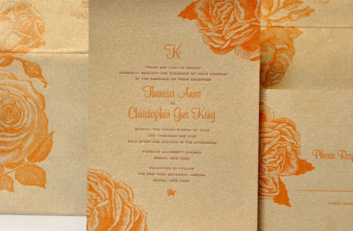 orange gold square wedding invitations 3