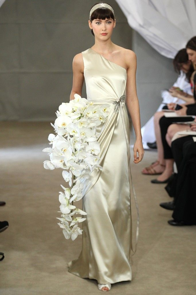 Spring 2013 bridal gowns Carolina Herrera wedding dress one shoulder silver muted gold